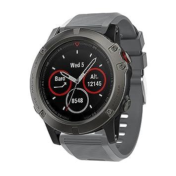 squarex - Correa de repuesto para reloj GPS Garmin Fenix 5X, color gris: Amazon.es: Deportes y aire libre