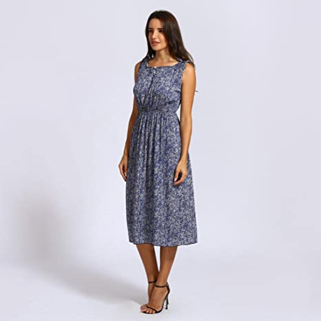 Kanpola Women Floral Sleeveless Casual Bohemia Wedding Clothe Dress (Blue,Small): Amazon.co.uk: Clothing