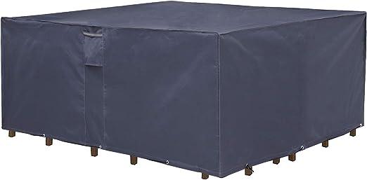 SONGMICS Cubierta para Muebles de Jardín, Funda Protectora Impermeable de Tela Oxford 600D, para Mesa y Sillas de Patio, a Prueba de Decoloración, 250 x 200 x 80 cm, Gris Oscuro GFC92G: