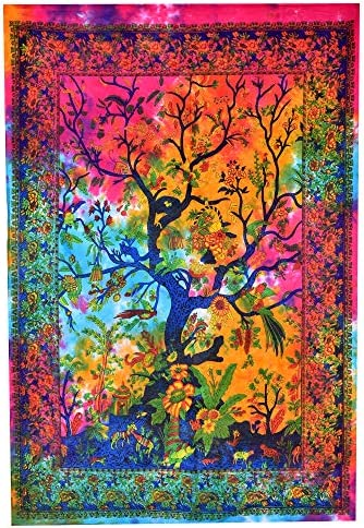MMSD Tree of Life Beautiful Bohemian Room Dorm Decor Hippie Indian Tie Dye Small Boho Tapestry Psychedelic Poster Size 40x30 Mandala Wall Hanging Art Cotton Gypsy Posters Green