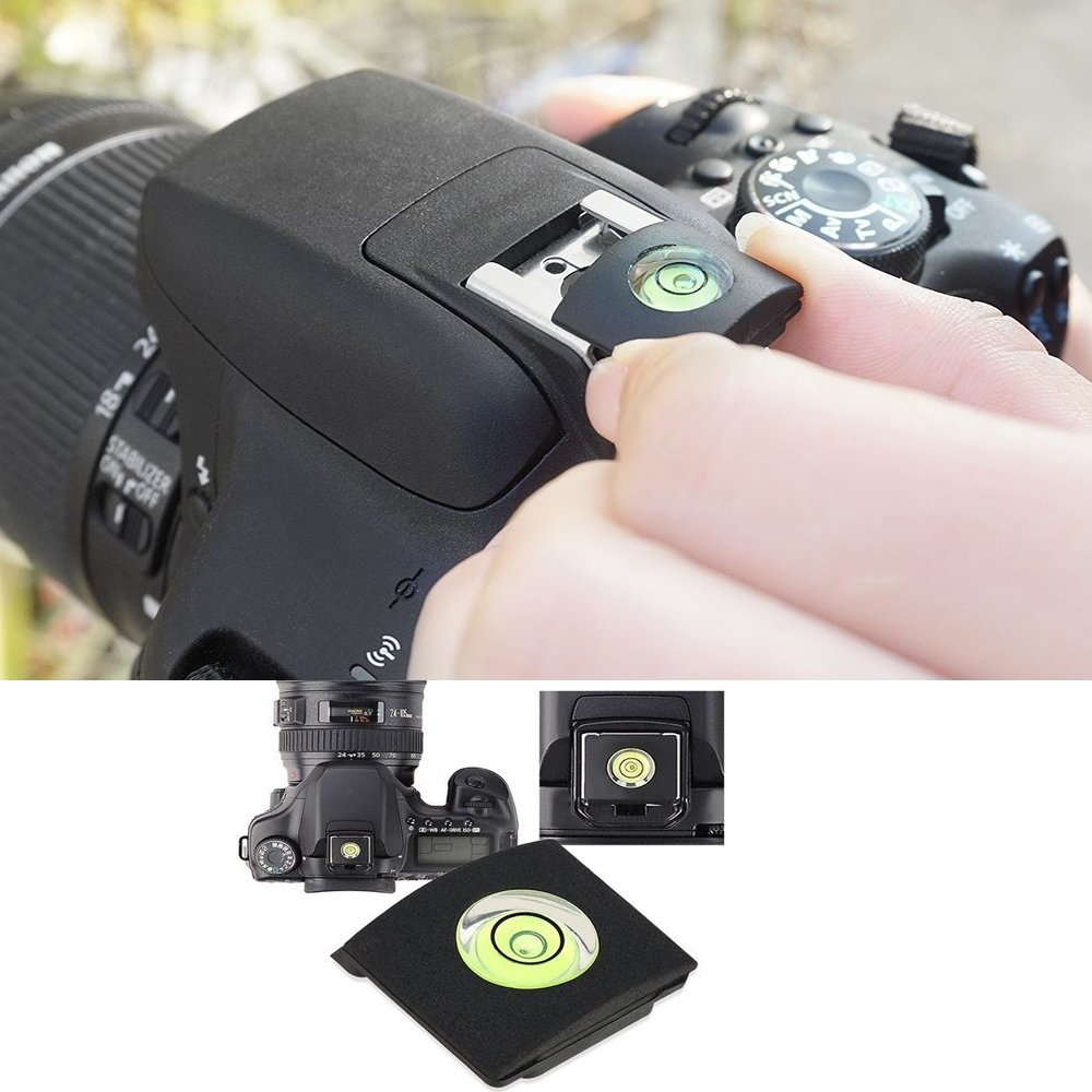Lxh 3 Pcs Black Camera Flashlight Hot Shoe Cover With Bubble Spirit Level For Nikon Canon Pentax Olympus Panasonic Photo