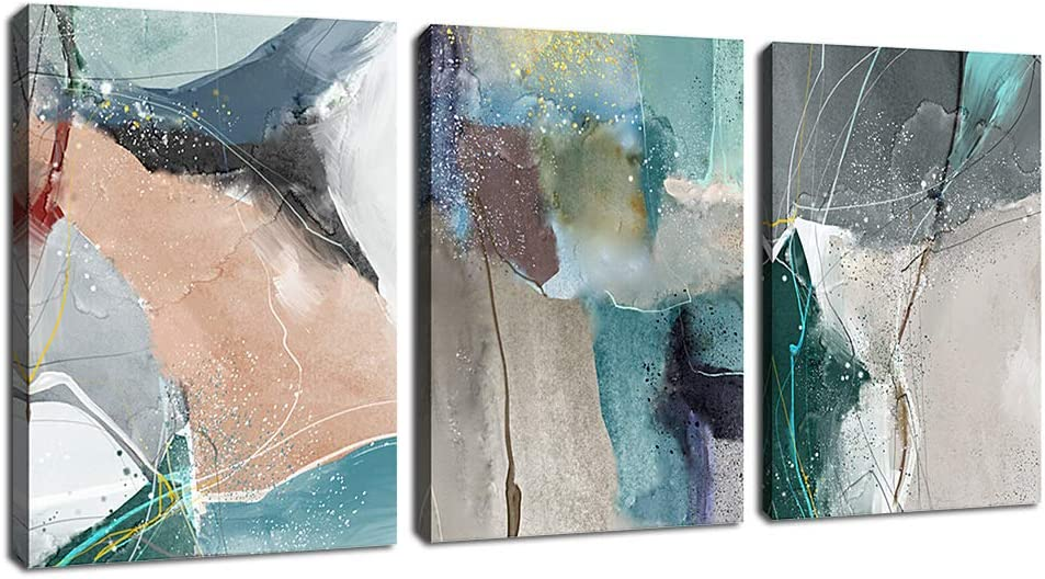 """arteWOODS Abstract Wall Art Modern Canvas Pictures Contemporary Abstract Artwork for Bedroom Bathroom Living Room Wall Decor 12"""" x 16"""" x 3 Pieces"""