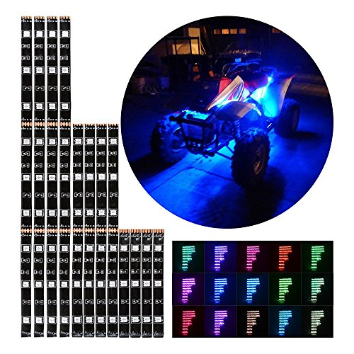12pcs RGB Multi-Color Flexible Strip Motorcycle 72 LED NEON Accent Lighting Kit