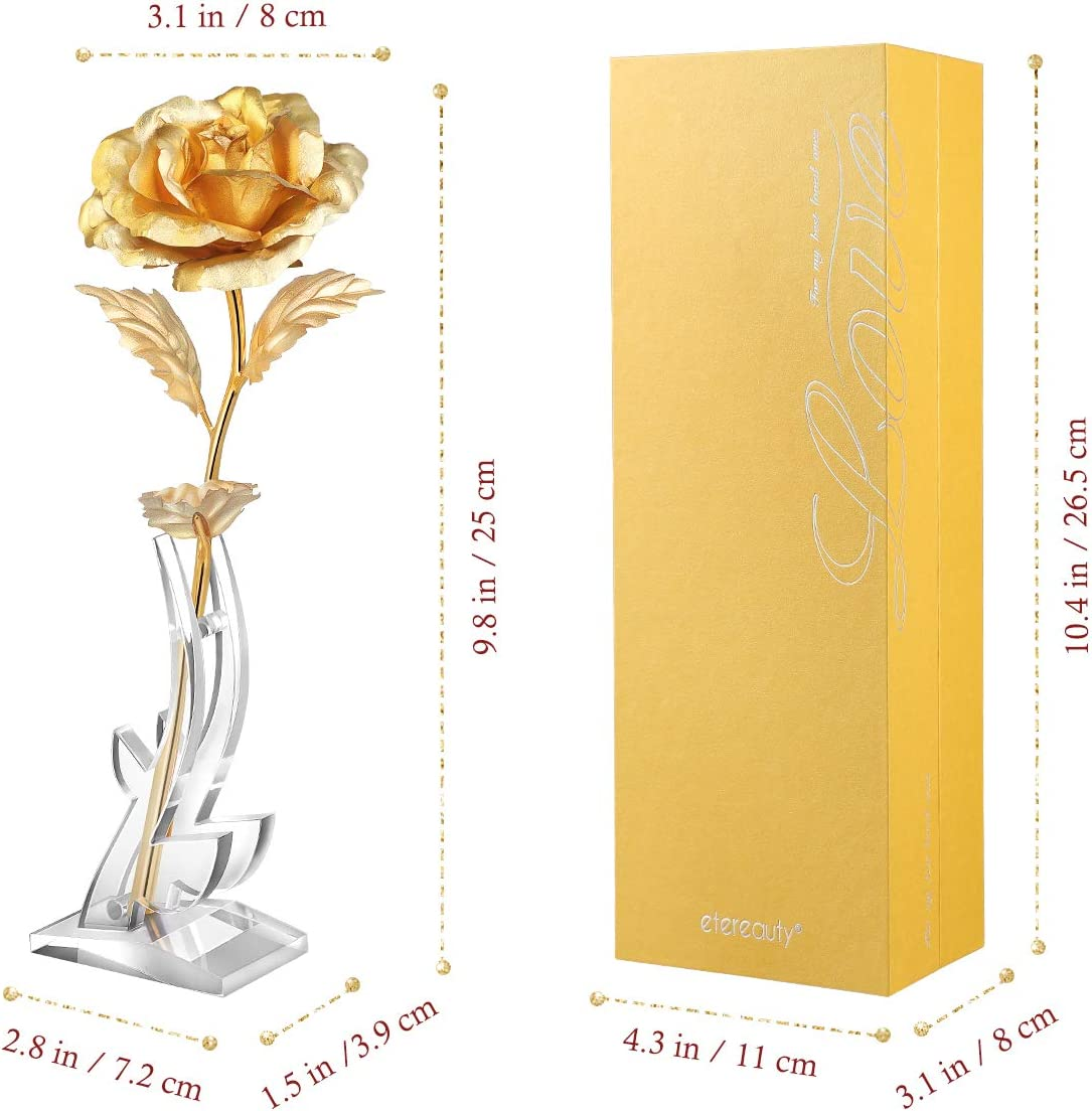 24k Gold Rose Flower with Stable Bracket, Artificial Gold Rose with Elegant Gift Box and Card