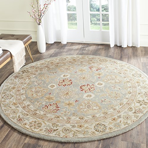 Antique Rug Round Floral (Safavieh Antiquities Collection AT822B Handmade Traditional Oriental Brown and Beige Wool Round Area Rug (8' Diameter))