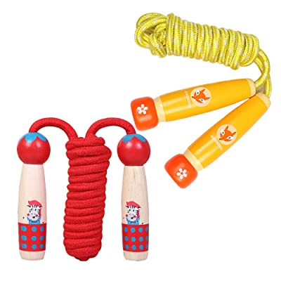 Funkeet 2 Pack Adjustable Jump Rope with Cute Wood Handle for Kids Exercise Kidergarten Children Little Girls Jumping Rope (Zebra+Fox): Toys & Games