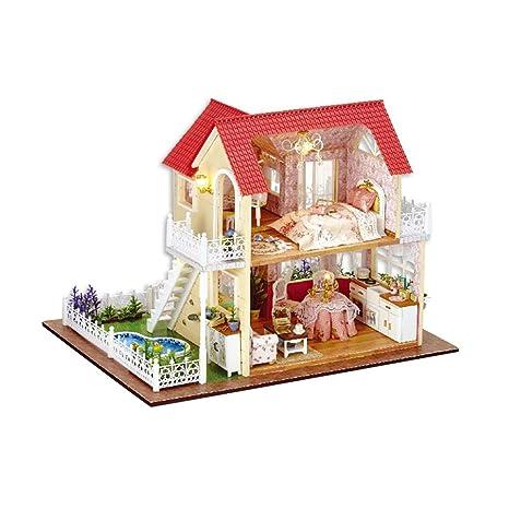 Toyvian caseta de princesa montada a mano con cubierta montada a mano para construir castillo de