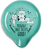 """Pavilion Gift Company It's Cats & Dogs-""""Meowow! That Tastes Good"""" Teal Ceramic Cat Spoon Rest, Small, Teal"""