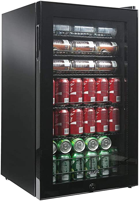 NewAir Beverage Refrigerator Cooler with 126 Can Capacity - Mini Bar Beer Fridge with Right Hinge Glass Door - Cools to 34F - AB-1200B - Black