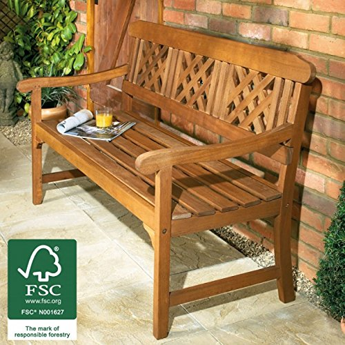 Garden Bench Wooden All Weather 3 Seater Hardwood Patio Lawn Chair Wood Seat