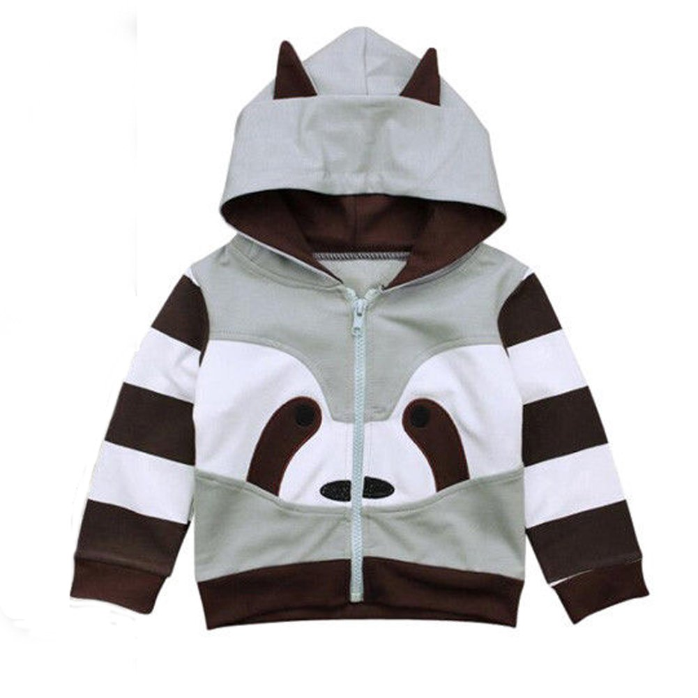 Zooarts for 1-6 Years Kids Boys Raccoon Molding Print Jumper Tops Long Sleeve Sweater Shirt Romper Outfit Autumn Winter Clothes (80 (1-2 Year))