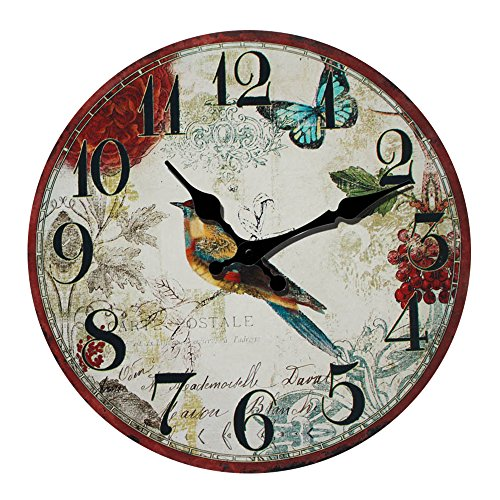 Animal Wall Clock Bird Wall Clock Made of Wood Battery Operated