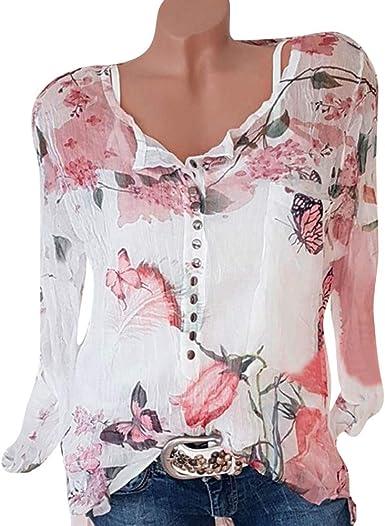 Fossen Mujer Blusas Elegantes Tallas Grandes Gasa Camisa Manga Larga de Flor: Amazon.es: Ropa y accesorios