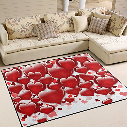 (Naanle Valentine's Day Area Rug 5'x7', Red Heart Love Polyester Area Rug Mat for Living Dining Dorm Room Bedroom Home Decorative)