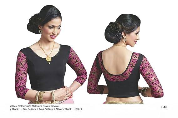 84641ff4407d0 Amazon.com  Black Printed Stretchable Lycra Cotton Ready-made Saree Blouse  Sari Choli Crop SHRI BALAJI SILK(L