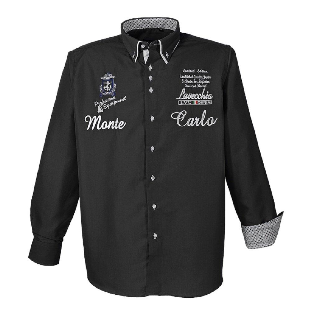 Lavecchia 1392 Übergröße Herren LG. Arm Hemd Monte Carlo Schwarz Gr. 3-7XL