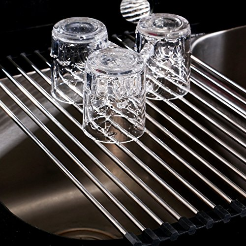 Roll-Up Dish Drying Rack over Sink, Stainless Steel, Large,