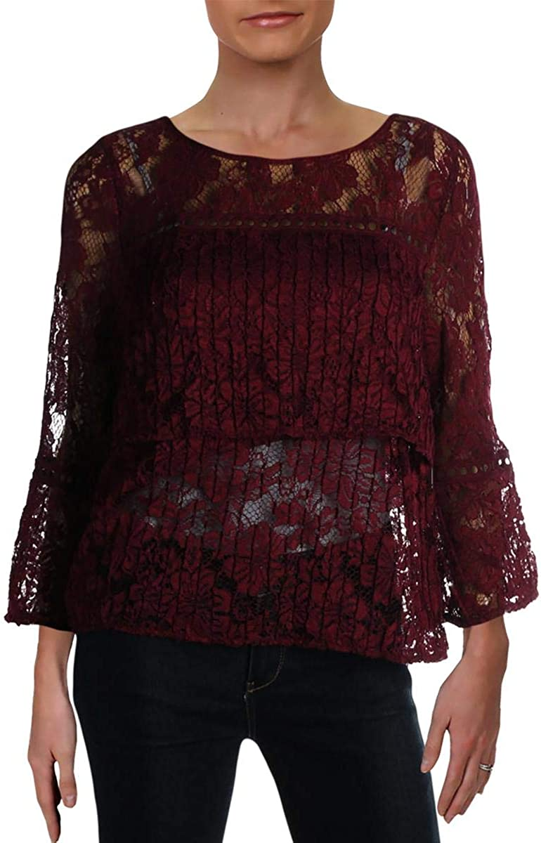 Laundry by Shelli Segal Womens Tiered Lace Blouse