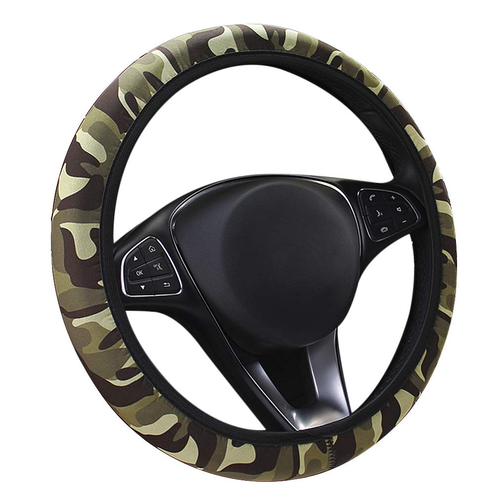 Xmas Gift *Beige Universal Luxury Automotive Car Winter Ultra Soft Stretch-on Leopard Pattern Wool Plush Steering Wheel Cover Nice Protector