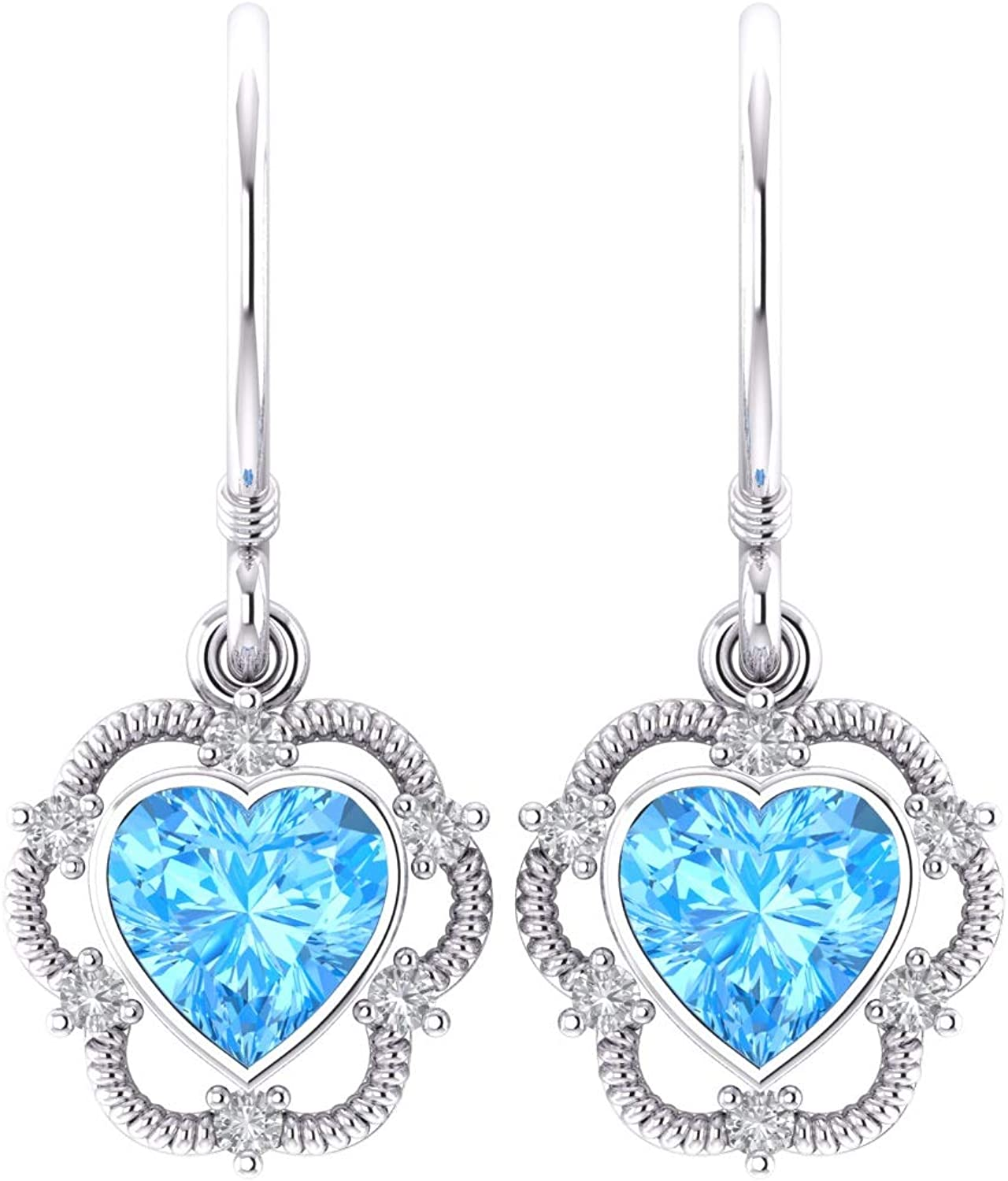 Details about  /925 Sterling Silver Jewelry Natural Swiss Blue Topaz Ring Earring Necklace Set