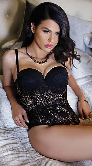 d2c4c30b08 Amazon.com: Fantasy Monroe Push-up Lace Teddy, Black Crochet Teddy ...