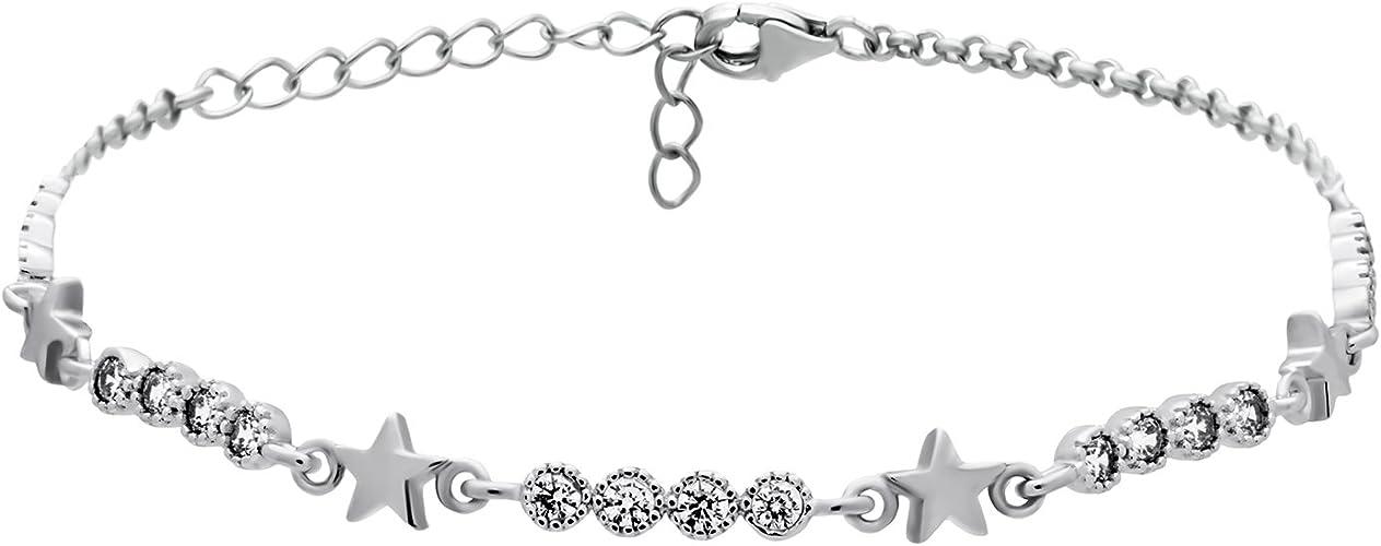 925 Sterling Silver Little Stars Bracelet2-Strand Box Chain