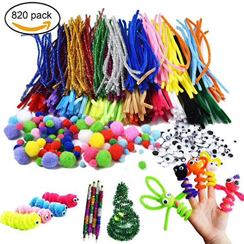 Pipe Cleaners, 26 Multi Colors Chenille Stems for Kids Art and Crafts Making Supplies, Bendable Fuzzy Sculpting Sticks, Pom Poms, Self-adhesive Wiggle Googly Eyes, DIY Christmas Activity Gift Set