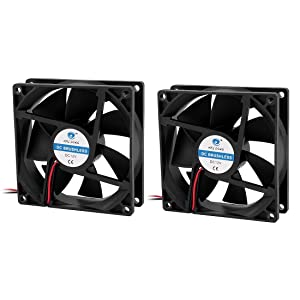 uxcell a16032500ux0911 2 Piece 92 x 25 mm DC 12V Brushless CPU Cooler Cooling Fan Black Power 2.16W, 3.62 inches Width, 3.62 inches Length