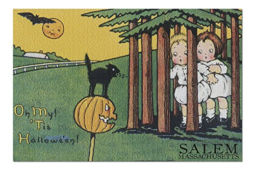 Salem, Massachusetts - Halloween Kids and Black Cat - Vintage Postcard (20x30 Premium 1000 Piece Jigsaw Puzzle, Made in USA!) -