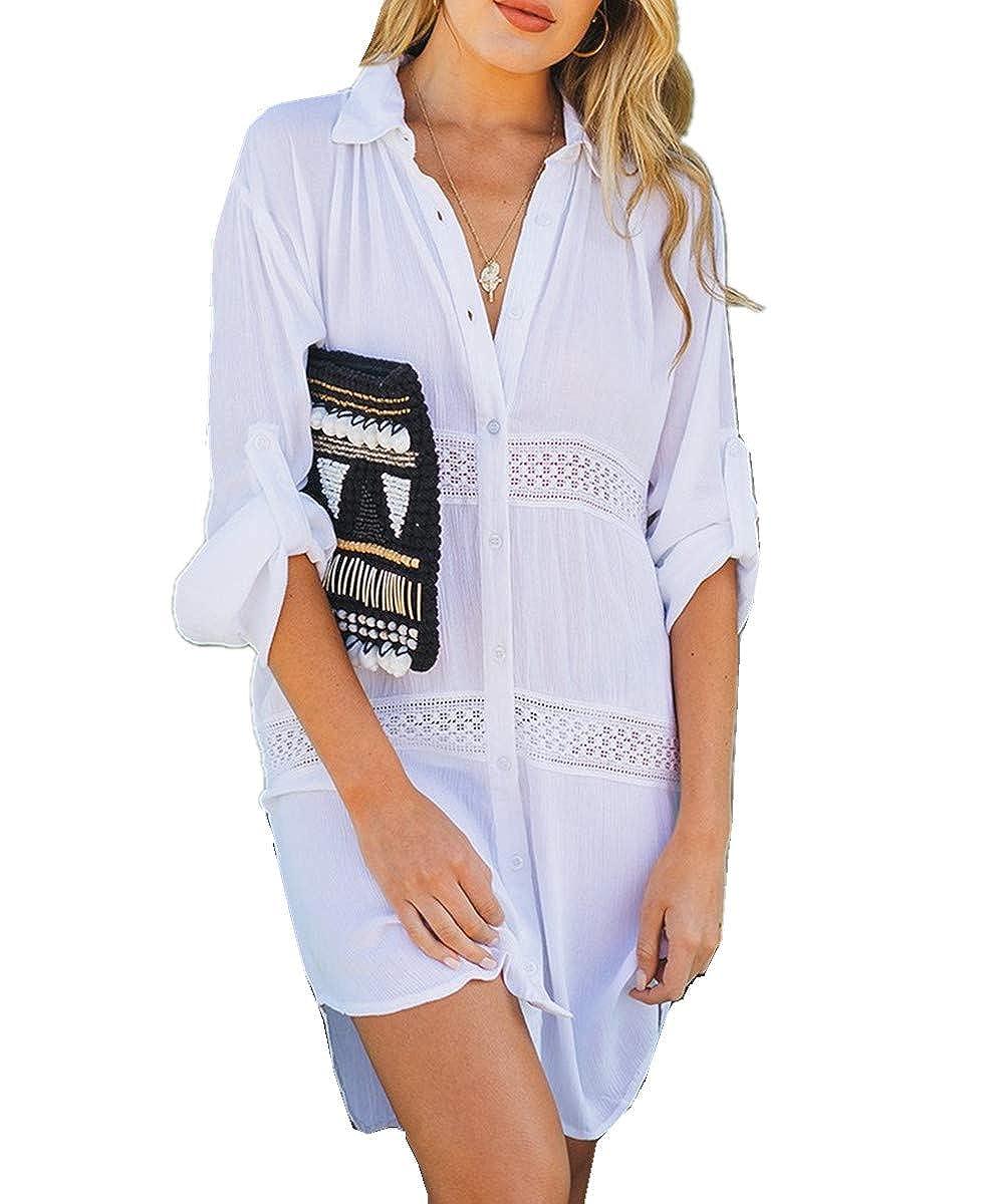 L-Peach Damen Sommer Strandhemd Strandtunika Strandkleid Sommerkleider Strandhemd Bademode Bikini Cover Up Lose One Size