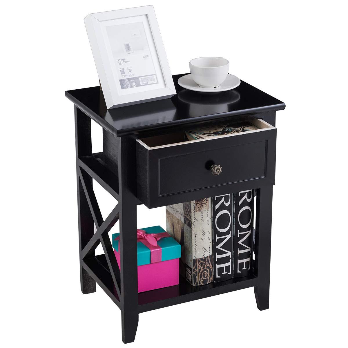 Giantex 2 Pcs Nightstand End Bedside Table Home Bedroom Furniture X-Shape W/Bottom Open Shelf Drawer, Black by Giantex (Image #5)