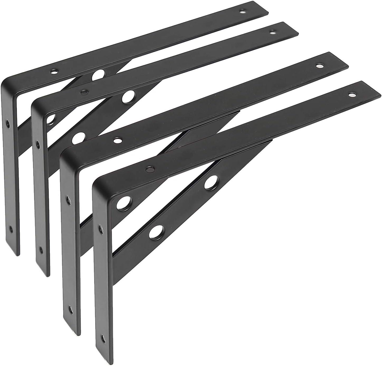 4Pack 20cm Soporte para Estanteria Soporte para Estante de Carga Pared Colgantes con Tornillos Negro Soportes Estanterias