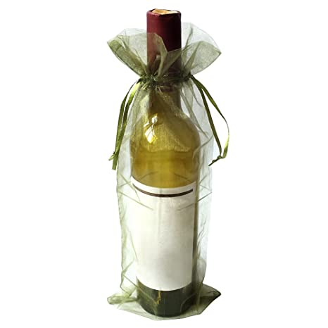 SXUUXB Bolsos de Botella de Vino de Organza, 50pcs Bolsas de ...