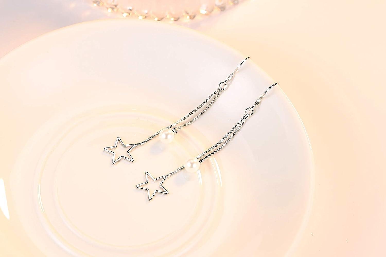 925 Sterling Silver Long Chain Tassels Hook Earring for Girls and Women