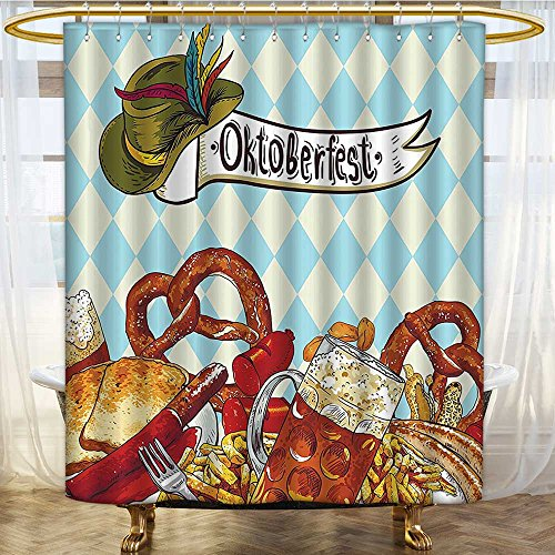 Mikihome Shower Curtains Waterproof Festivalations Bread Pretzel Carnival