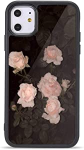 Cute Floral Flower iPhone SE 2020 Cases, Rose Flower iPhone Case Soft TPU Bumper with Metal Sheet for Women Girls-Rose