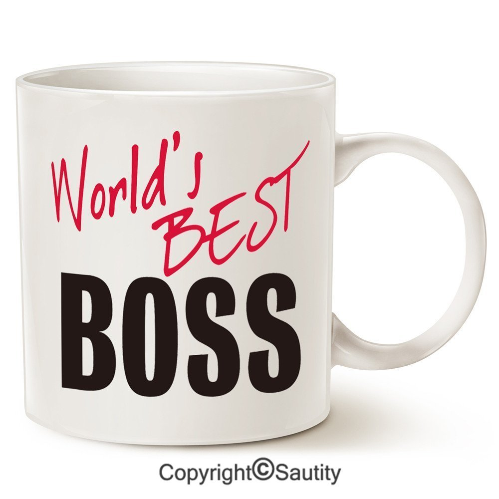 Christmas Gifts Worlds Best BOSS Coffee Mug Funny Ceramic For Boss Day White 11 Oz