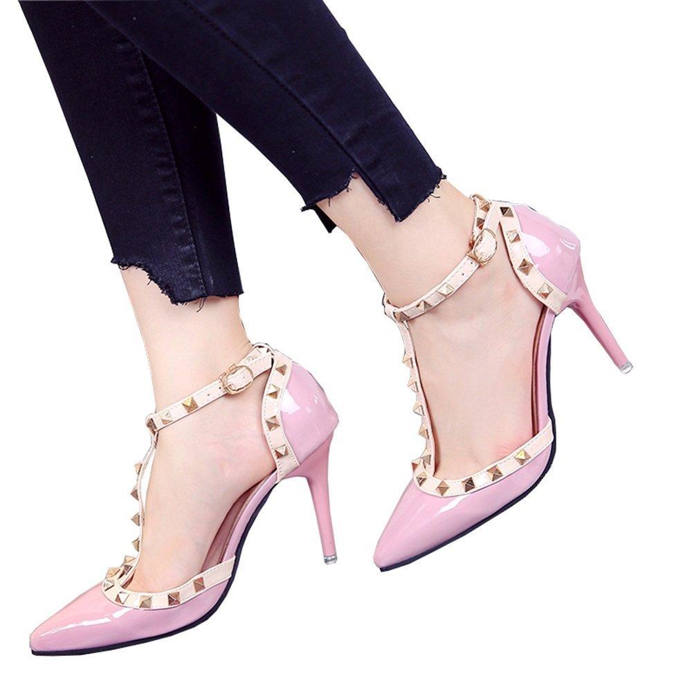 GAIHU Schuhe 9 cm Rosa Spitzen Schuhe mit hohen Absauml;tzen, Nieten ausgehouml;hlten Schnalle Rot, flach Mund39 EU|Pink9cm