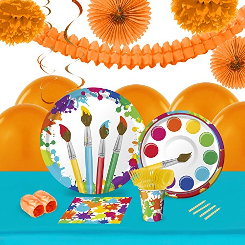 Art Party Childrens Birthday Party Supplies - Tableware and Decoration Pack (16) (Paint Brush Birthday Candles)