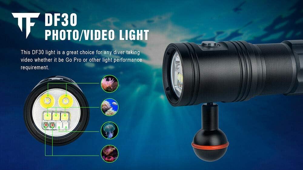 32650 Battery Trustfire DF30 Dive Video Photo LED Light 2350LM Scuba 100M Torch