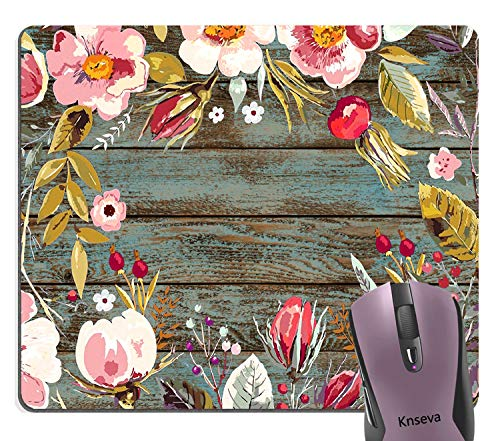 (Knseva Vintage Floral Wreath Rustic Wood Grain Print Art Rectangle Mouse Pad, Multicolored Flowers Leaves Painting Cute Mouse Pads for Modern Office Decoration )