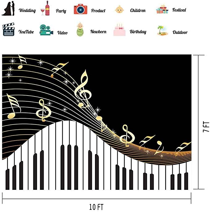 Music 8x10 FT Photo Backdrops,Ornamental Piano Keyboard with Various Patterns Classic Melody Rhythm Graphic Background for Child Baby Shower Photo Vinyl Studio Prop Photobooth Photoshoot Multicolor