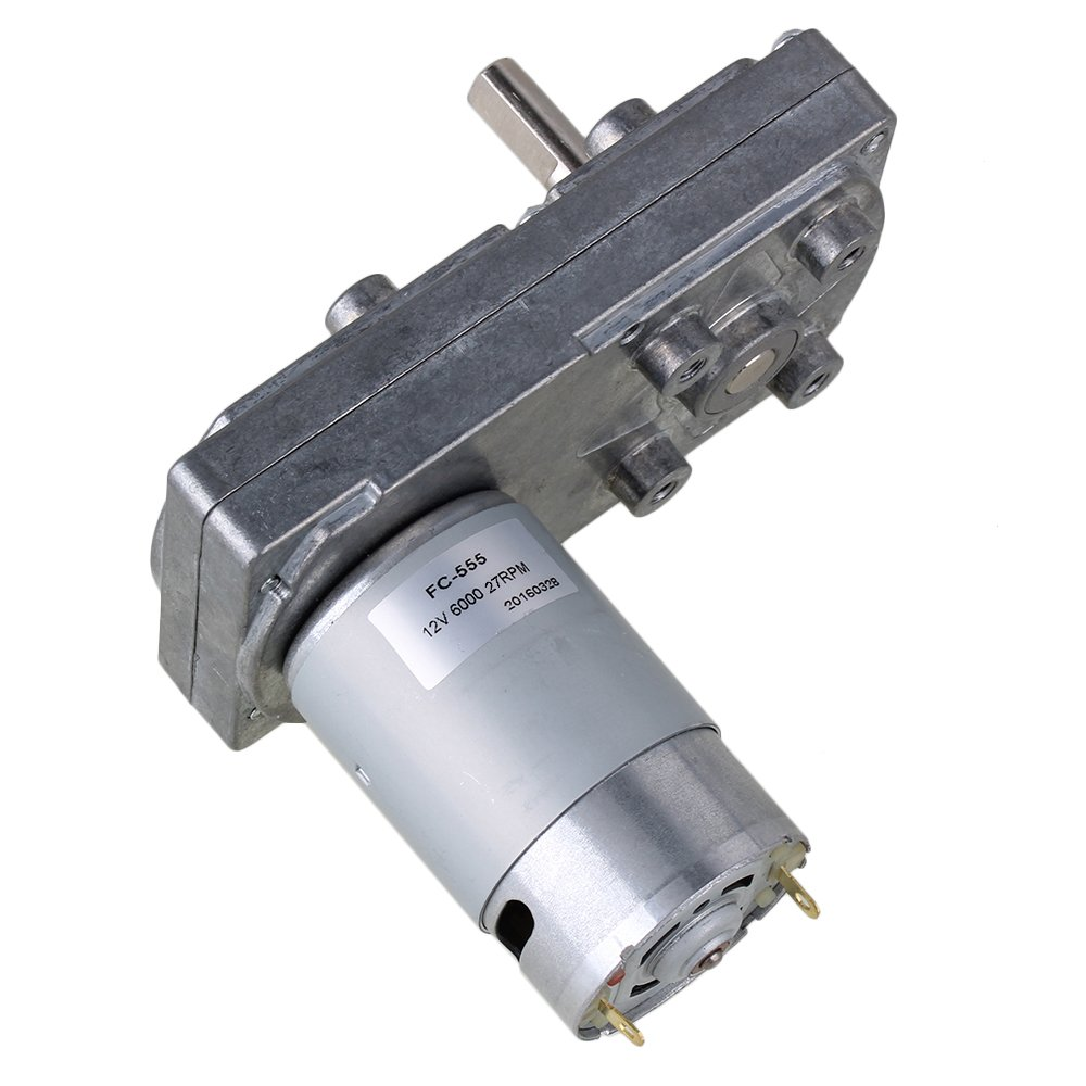 BQLZR 10 x 6 x 7.5cm Silver Metal DC 12V 34RPM Square Geared High Torque Low Speed Motor Right Angle Electric Drive Motor BQLZRN21136