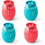 Clair by GOVERRE: a Modern, Classic, Portable, Stemless Wine Glass Tumbler with Silicone Sleeve and Drink-Through Lid | Adult Sippy Cup As Seen on Shark Tank (Turquoise & Red), Set of 4