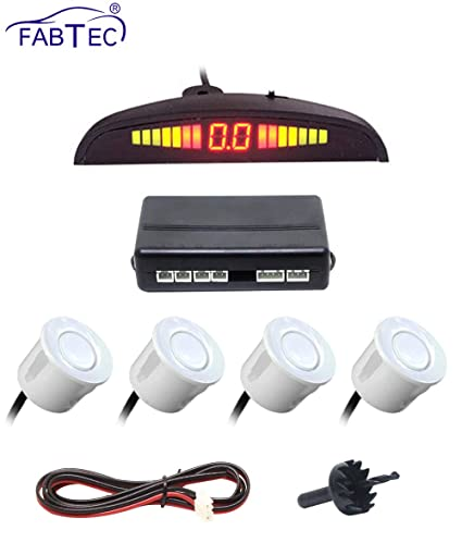 Fabtec Car Reverse Backup Radar System with 4 Parking Sensors Distance  Detection + LED Distance Display For All Cars (White)