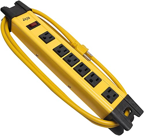 KMC 6 Outlet Heavy Duty Metal Surge Protector Power Strip 6 Feet, 125V 15A, Bleck