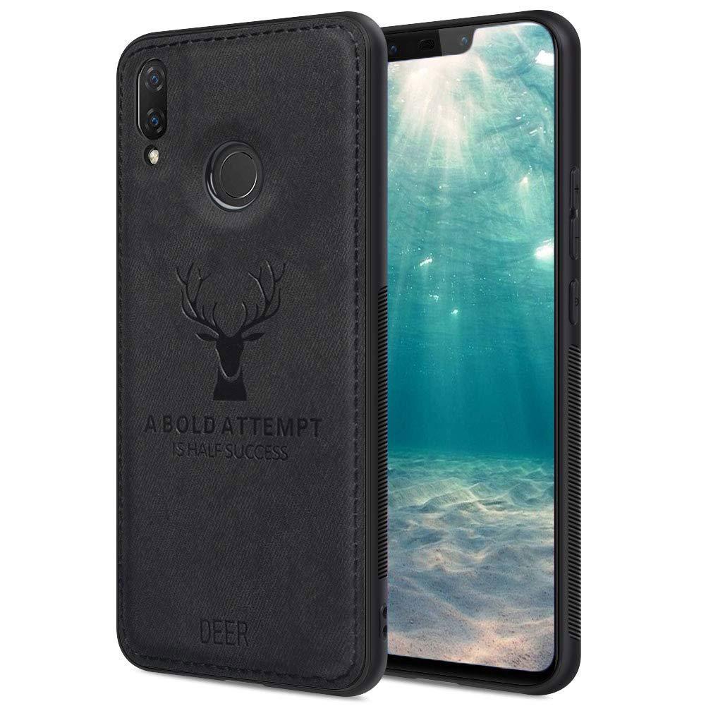Ptny 2019 Most Popular Slim Elk Deer 3D Pattern Case for Xiaomi Pocophone F1 Case Black TPU Soft Edge Anti-Fall Anti-Slip Frame and Denim Fabric Elk Deer 3D Imprint Back Cover Case