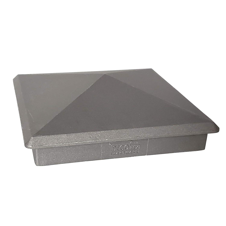 "True 6"" x 6"" Heavy Duty Aluminium Pyramid Post Cap for Wood Posts - Natural Mill Finish/Sandblasted"