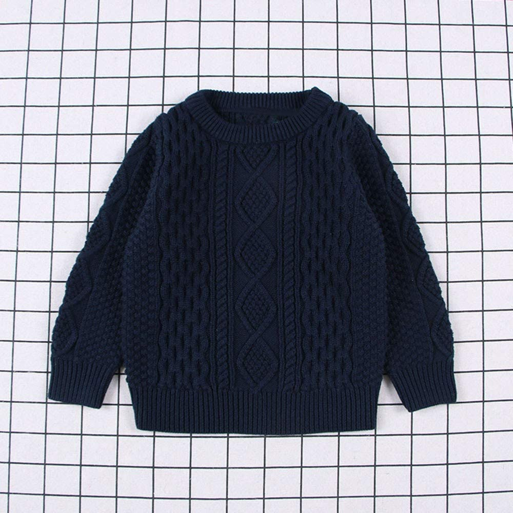 Amaone Baby Sweater Girls Boys for 1-6 Years Old Solid Color Ribbed Detail Pullover Tops Winter Warm Unisex Kids Knitwear