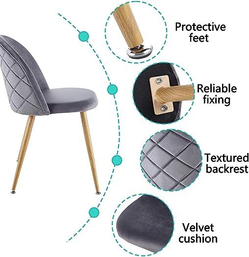 Velvet Upholstered Dining Chairs Set of 2